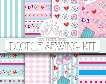 """Sewing Digital Paper: """"DOODLE SEWING KIT"""" with 12 sewing backgrounds, sewing pattern, scrapbook kit for scrapbooking, cards and other crafts"""