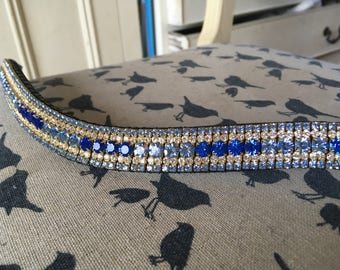 """Gorgeous custom crystal 3/4"""" curve Browband, Blues! Any size!"""