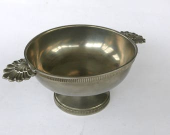 Vintage French Pewter Bowl, Small Metal Dish, French Etain Serving Bowl, Round Bowl with 2 Handles, Pewter Drinking Bowl, Pewter Decor