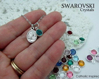 Our Lady of Lourdes Mini Medal  Plus SWAROVSKI Birthstone Crystal - St. Bernadette Saint Stainless Steel Birth Stone Tiny Catholic Necklace
