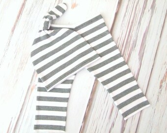 RTS Gray White Stripe Newborn Baby Photo Pant and Knot Hat Set!