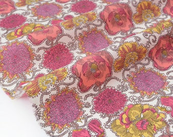 Fabric batiste lawn cotton silky flowing floral yellow rose x 50cm