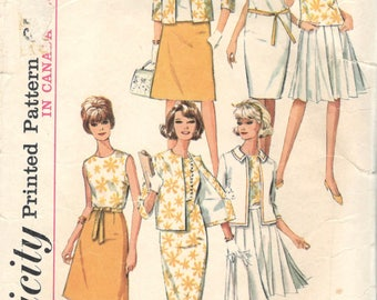 Simplicity 5927 1960s Misses Dress Blouse Skirt and Jacket Pattern Womens Vintage Sewing Pattern  Size 14 Bust  34