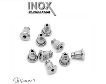 20 caps 6x5mm stainless steel push clasp earrings Stud bullet stopper M01533
