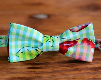 Cool Men's Bow Tie - blue and green with watercolor look bowtie, ties for teen and men, pre tied bowties, wedding bow ties, custom bow tie