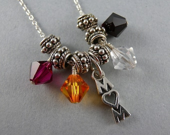Custom Personalized Mother's Heirloom Swarovski Necklace for four Children with Free Shipping in the USA
