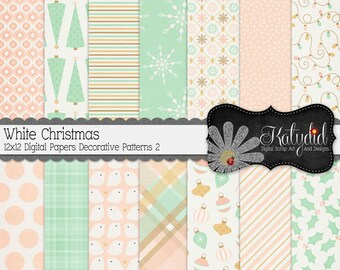 Christmas Digital Paper White Christmas Digital 12x12 Patterns 2 Holiday Seasonal Papers and Backgrounds for INSTANT DOWNLOAD