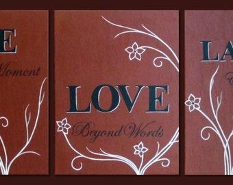 Original- Live Laugh Love- inspirational qoute-brown black white, canvas art, textured, impasto, landscape,  panting