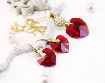 Red heart Swarovski crystal earrings necklace set Red heart pendant necklace 24k gold plated crystal earrings Red Swarovski heart jewellery