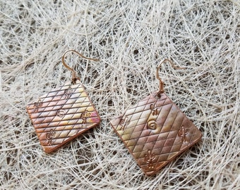 Textured copper hand-made earrings