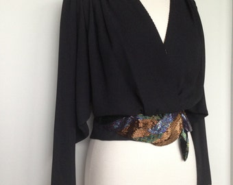 Sexy Black High Fashion Vintage / Unique High Fashion Blouse Top / Copper Blue Green Detailed Beading