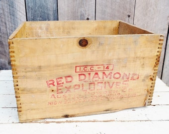 Vintage Red Diamond Explosives Crate Red Lettering Austin Powder Company Rustic Primitive Decor Shelf