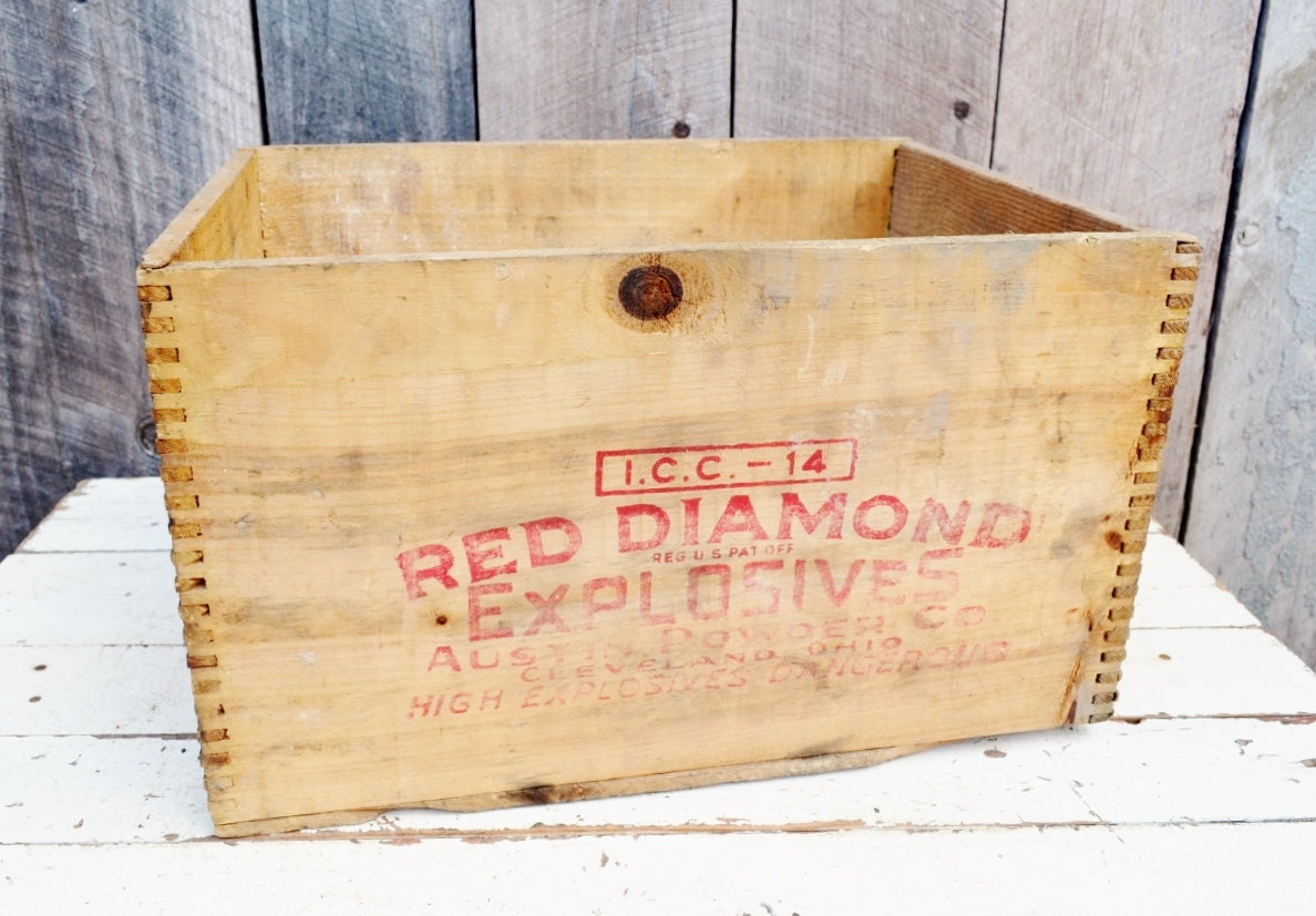 Vintage Red Diamond Explosives Crate Red Lettering Austin