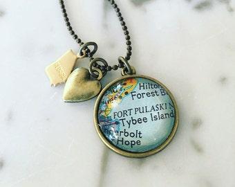 Tybee Island Map Charm Necklace - Savannah - Georgia - Visit Tybee - Travel - Wanderlust - Vacation