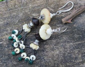 Horn, wood, pearl earrings and organic beads