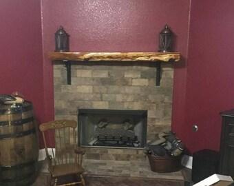 Floating Fireplace Mantel w/ Lived Edge