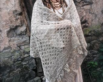 Nettle Yarn Shawl ~Knitted Himalayan Nettle ~