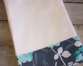 Kitchen Towel, Hand Towel, Tea Towel, Waffle Weave Towel, Dish Towel, Kitchen Hand Towel-Gray Floral