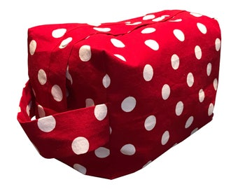 Rosy Red Polka Dots Project Bag Boxy Bag size large