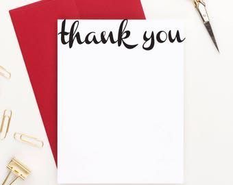 Thank you flat notecards, Thank you stationery, thank you stationary, Thank you cards, Simple Thank you cards, Blank Thank you cards, TY001
