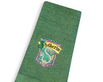 Slytherin Embroidered Cotton Kitchen Towel