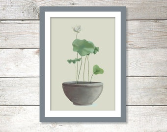 Poster Lotus   A3   420x297mm   11.7 x 16.5 inches   Art print, Wall print, Wall art, Home decor, Poster, Lotus , Print, Plant, Green