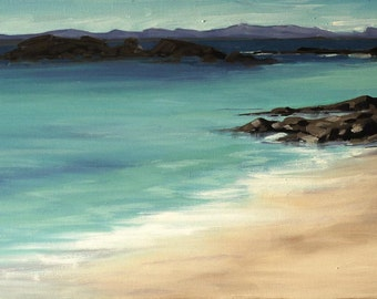 Iona Blue  | greetings card | hand made | handmade | oil painting | painting | landscape | iona | beach | sea | landscape paitning card
