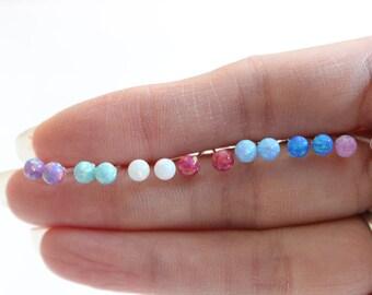Opal sterling earrings, Ball earrings, tiny stud earrings, classic ball earrings, children earrings, teeny tiny studs dot earrings.