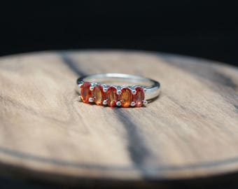 1.34ct sunset orange sapphire sterling silver ring