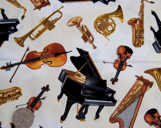 Tossed MUSICAL INSTRUMENTS Cream Concerto Music Cotton Quilt Fabric by the Yard, Half Yard, Fat Quarter FQ Piano Violin