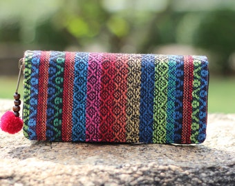 Unique Colorful Striped Cotton Womens Hippie Wallet   Long Wallet   Clutch Wallet   Cute Wallet    Vegan Purse   Fabric Wallet  Vegan wallet