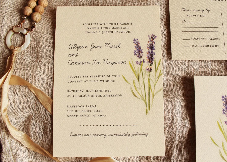 Lavender Wedding Invitation Set Purple Wedding Invitation