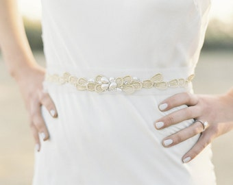 "Gold teardrop design belt with pearl and crystals floating on tulle ""Cosette"""