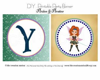 PRINTABLE Party Banner - Pixies & Pirates - INSTANT DOWNLOAD