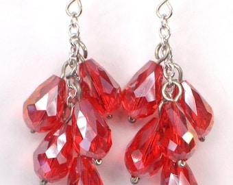 Red Drop Dangle Earrings, Red Crystal Drop Earrings, Red Sparkle Crystal Earrings, Red Cluster Dangle Earrings, Red Earrings (E379)