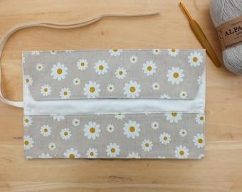 Daisy Crochet Hook Case, Storage Organizer, Roll Up Hook Holder
