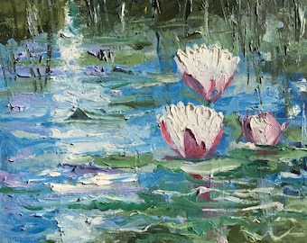 Water Lilies Oil Painting / Pond Painting / White Flowers Painting / Original Oil Painting on Canvas