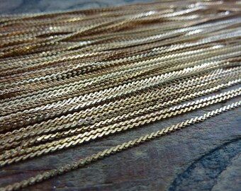 Vintage Chain Brass Serpentine Chain 24 inch Necklace 1mm F104