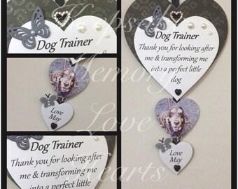 Dog Trainer Gift personalised Wooden Keepsake Heart