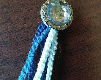 Button Bookmark - blue with diamond button - String Bookmark