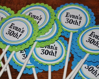 Cupcake Toppers. Happy Birthday. Personalized. Blue. Green. Cupcake Picks. Set of 12