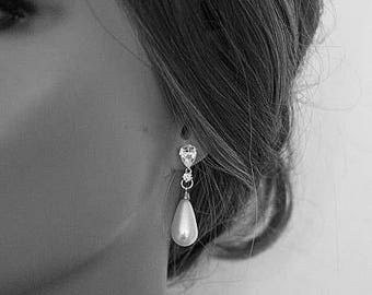 Modern Minimalist Pearl Earrings Pearl Drop Earrings Art Deco Cubic Zirconia Earrings Perfect Gifts For Her