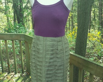 Pencil Skirt - Shimmery Green Ruffles - Upcycled Fachion - Altered Chic - Upcycled Coture - Holiday Party Clothes