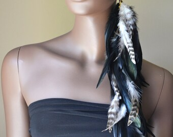 Extra Long Black and Grizzly Single Feather Earring