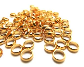 buy3Get2Free / W201GD / 70Pc / 350Pc / D7mm x 2.5mm - Gold Plated Machined Cut Rondelle / Washer / Spacer Beads with holes