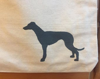 Greyhound Canvas Tote Bag with Purple, Dove Gray, & Charcoal Gray Cotton Polka Dot Lining