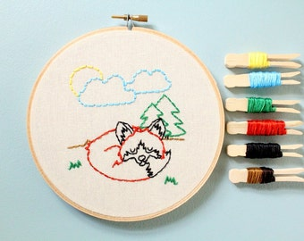 DIY Kit. DIY Embroidery Kit. Embroidery Kit. Fox. Embroidery Gifts.Hand Embroidery. Embroidery. Gifts for Her.