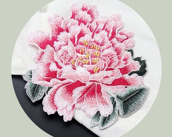 Embroidered Peony Patches, Sew On Flower Appliques