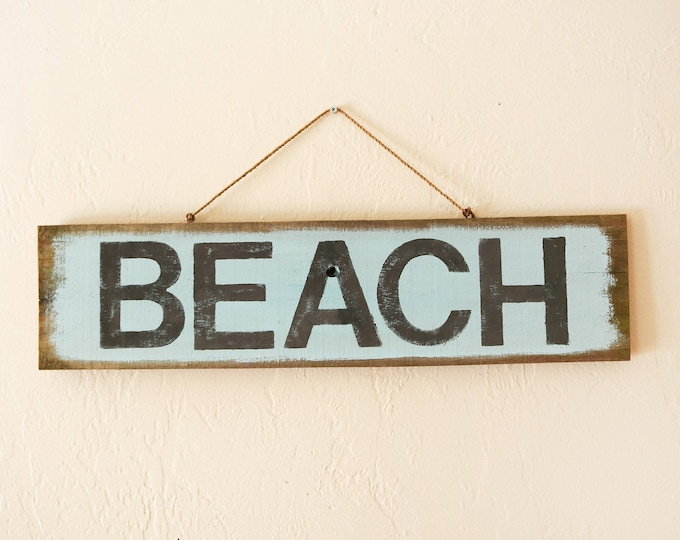 "Beach decor 22x6"" BEACH Sign Nautical Reclaimed Wood Distressed Blue by SEASTYLE"