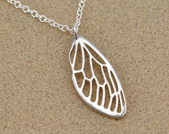 "Cicada Wing Pendant - Sterling Silver Insect Jewelry - 18"" Cable Chain"